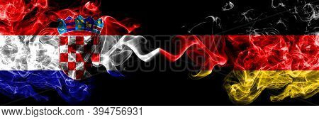 Croatia, Croatian Vs Germany, German, Deutschland Smoky Mystic Flags Placed Side By Side. Thick Colo