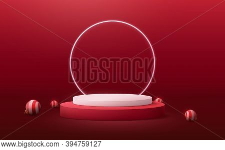 3d White And Red Circle Podium Display With Christmas Ball Element. Vector Illustration
