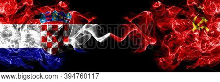 Croatia, Croatian Vs Ussr, Soviet, Russia, Russian, Communism Smoky Mystic Flags Placed Side By Side