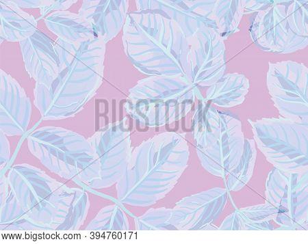 Rose Leaves Seamless Pattern. Proton Purple Romantic Botanical Vector Background. Painted English Ro