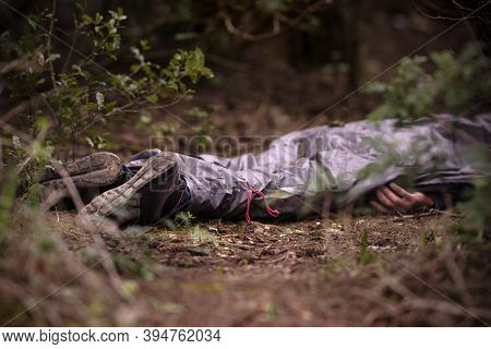 Mans Body Found Dead In The Woods. Dead Body In The Forest. Murder In The Woods