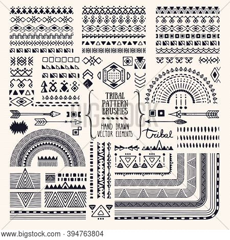 Hand Drawn Ethnic Brushes, Patterns, Textures. Artistic Vector Collection Of Design Elements, Tribal