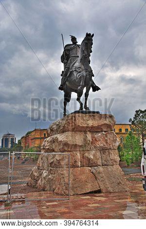 Tirana, Albania - 08 May 2018: The Monument In Tirana, Albania
