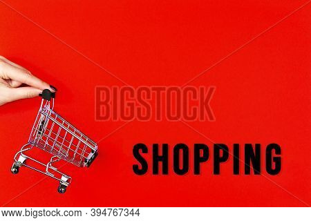 Little Shopping Cart, Trolley For Clothes, Products, Technics Is On Red Background Canvas. Black Fri