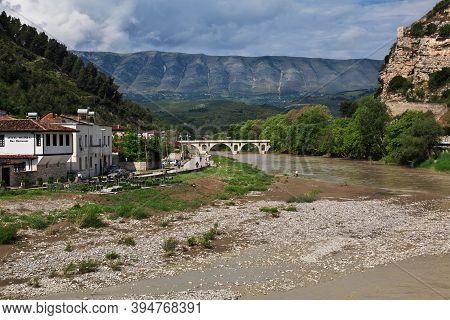 Berat, Albania - 09 May 2018: The River In Berat, Albania