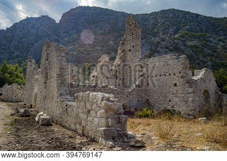 Olympos Antique City Ruins. Archeological Excavation Zone. Kemer, Antalya, Cirali, Turkey.