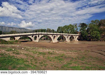 The Vintage Bridge In The Center Of Berat, Albania
