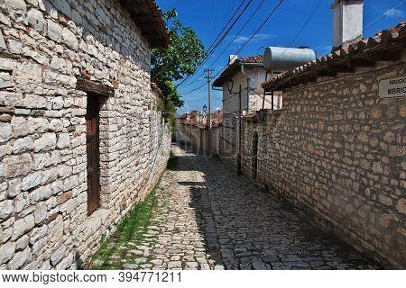 The Vintage Street Of Berat City In Albania