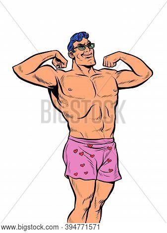 Muscular Man In Underpants. Pop Art Retro Illustration Kitsch Vintage 50s 60s Style