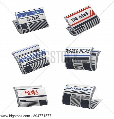 Set Of Isolated Newspaper Icon. Paper Media