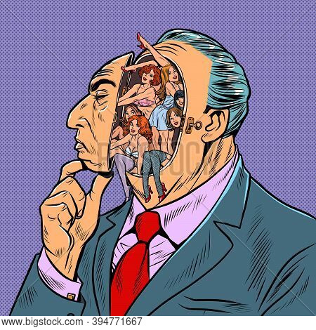 Erotic Thoughts In A Man Head. Attractive Women In The Old Man Fantasies. Pop Art Retro Illustration