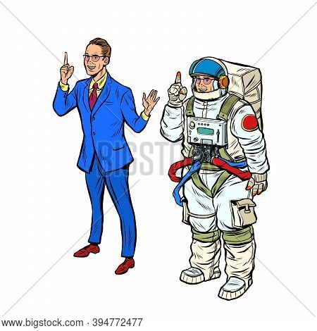 A Businessman And An Astronaut In A Spacesuit. Pop Art Retro Illustration Kitsch Vintage 50s 60s Sty