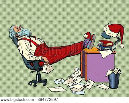 Santa Claus Is Tired And Resting In The Office For Christmas. Pop Art Retro Illustration Kitsch Vint
