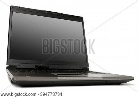 Black laptop computer still life Isolated on white background