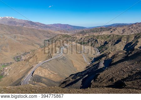 Curved Road In Tizi N Tichka Mountain Pass In The Atlas Mountains. Road To The Sahara Desert. Travel
