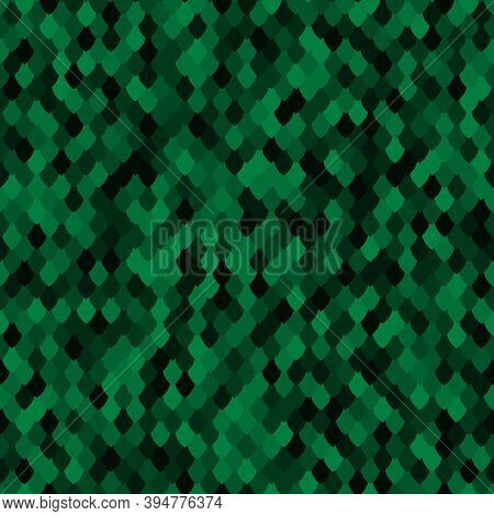 Abstract Scale Texture. Color Squama Texture. Green Malachite Seamless Pattern