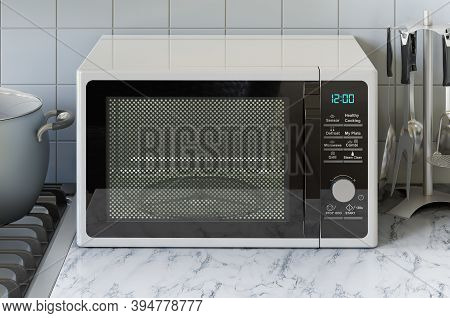 Microwave Oven On The Kitchen Table. 3d Rendering
