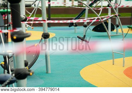 Restricted Entrance To Park Or Exercise Workout Playground, Equipment Wrapped With Barricade Tape, C