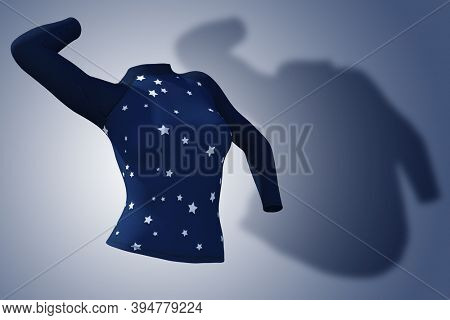 Conceptual fat overweight obese shadow female blouse outfit vs slim fit healthy body after weight loss or diet thin young woman on blue. A fitness, nutrition or obesity health shape 3D illustration