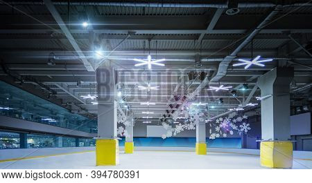 3d Ice Rink. Professional Ice Skating Rink. Sport. Winter Background. 3d Empty Ice Rink Illuminated