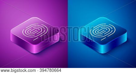 Isometric Fingerprint Icon Isolated On Blue And Purple Background. Id App Icon. Identification Sign.