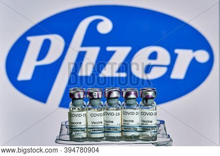 Mallorca/espaÑa- November 13 2020: Pfizer Biontech Research Coronavirus (covid 19) Vaccine. Row Of V