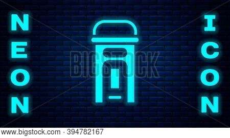 Glowing Neon London Phone Booth Icon Isolated On Brick Wall Background. Classic English Booth Phone