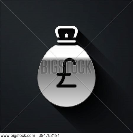 Silver Money Bag With Pound Icon Isolated On Black Background. Pound Gbp Currency Symbol. Long Shado