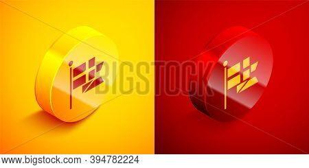 Isometric Flag Of England On Flagpole Icon Isolated On Orange And Red Background. Circle Button. Vec