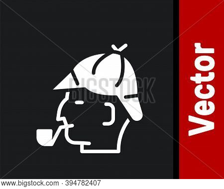 White Sherlock Holmes With Smoking Pipe Icon Isolated On Black Background. Detective. Vector