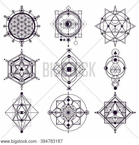 Sacred Geometry Abstract Symbols, Esoteric Vector Signs