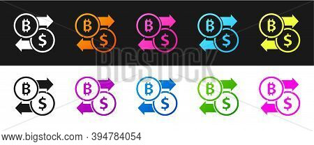 Set Cryptocurrency Exchange Icon Isolated On Black And White Background. Bitcoin To Dollar Exchange