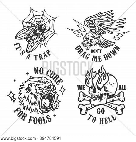 Vintage Monochrome Tattoos With Angry Eagle Ferocious Gorilla Head Fly In Spiderweb Trap Crossbones