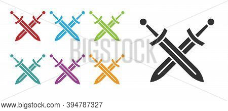 Black Crossed Medieval Sword Icon Isolated On White Background. Medieval Weapon. Set Icons Colorful.