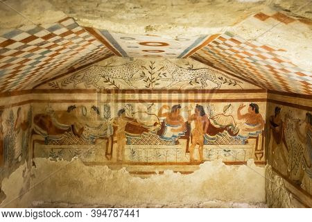Tarquinia, Italy - 18 September 2020: Tomb Of Leopards, One Of The Tombs Of The Etruscan Necropolis