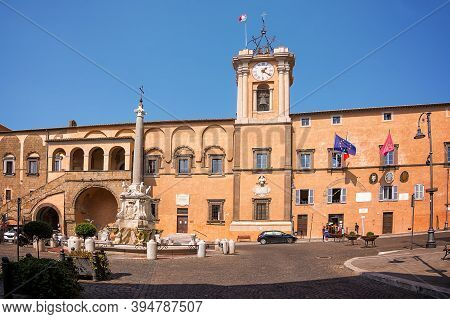 Tarquinia, Italy - 18 September 2020: Fountain And Town Hall In The Square Of Tarquinia (italy)