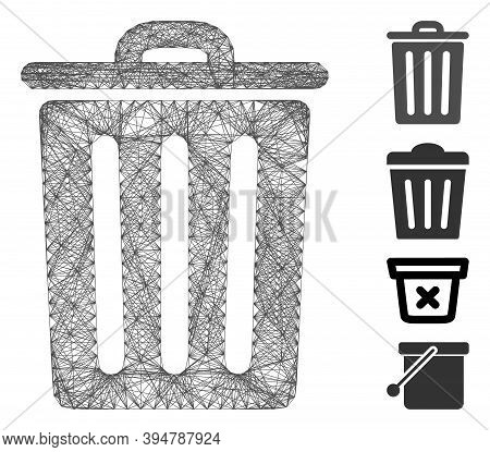 Vector Net Dustbin. Geometric Hatched Frame 2d Net Made From Dustbin Icon, Designed From Crossing Li