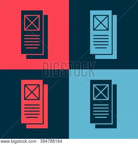 Pop Art Browser Window Icon Isolated On Color Background. Vector