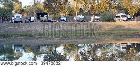 Kerrville,texas -  Nov.12,2020   Rv Campsite On The Guadalupe River In Texas.