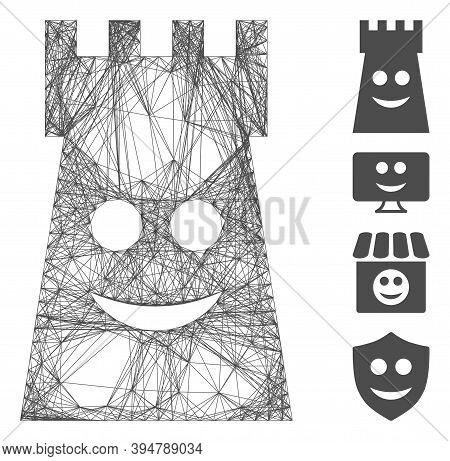 Vector Network Glad Fort Tower. Geometric Wire Carcass 2d Network Made From Glad Fort Tower Icon, De