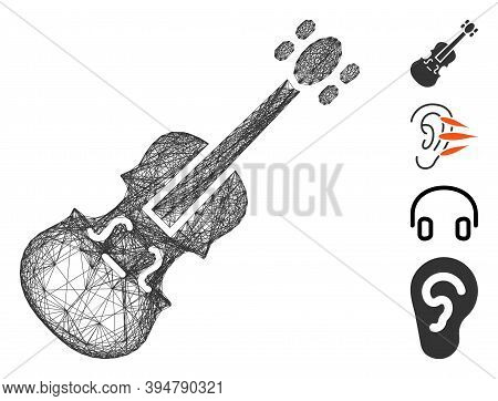 Vector Network Violin. Geometric Hatched Carcass Flat Network Made From Violin Icon, Designed With C