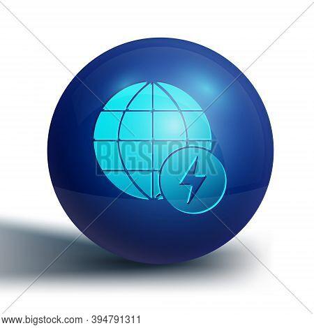 Blue Global Energy Power Planet With Flash Thunderbolt Icon Isolated On White Background. Ecology Co