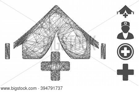 Vector Wire Frame Field Hospital. Geometric Wire Carcass 2d Network Based On Field Hospital Icon, De