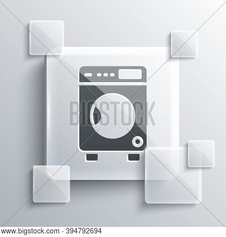 Grey Washer Icon Isolated On Grey Background. Washing Machine Icon. Clothes Washer - Laundry Machine