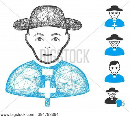 Vector Wire Frame Catholic Shepherd. Geometric Hatched Frame Flat Net Made From Catholic Shepherd Ic