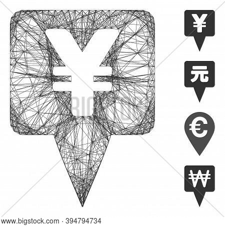 Vector Net Yen Map Pointer. Geometric Wire Carcass Flat Net Made From Yen Map Pointer Icon, Designed