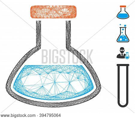 Vector Wire Frame Rounded Flask. Geometric Wire Frame Flat Net Based On Rounded Flask Icon, Designed