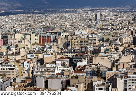 Athens, Greece - January 20, 2017: Panorama From Acropolis To City Of Athens, Attica, Greece