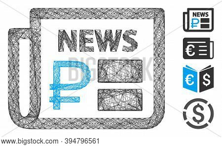 Vector Wire Frame Rouble Financial News. Geometric Wire Frame 2d Network Made From Rouble Financial