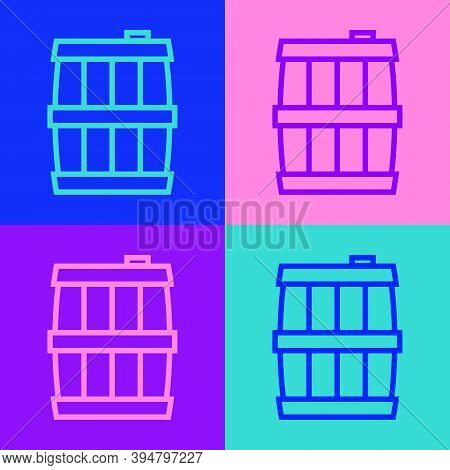 Pop Art Line Wooden Barrel Icon Isolated On Color Background. Alcohol Barrel, Drink Container, Woode